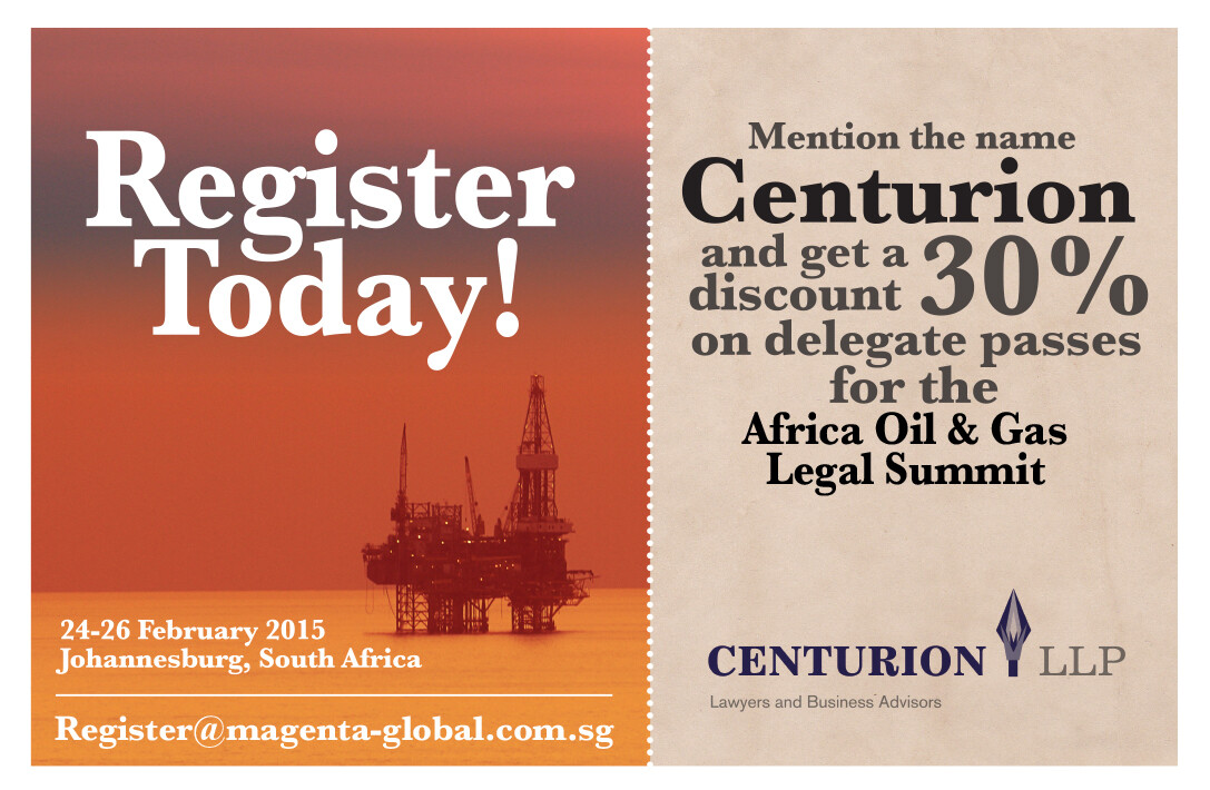 Centurion promotion Africa Oil and Gas Legal Summit
